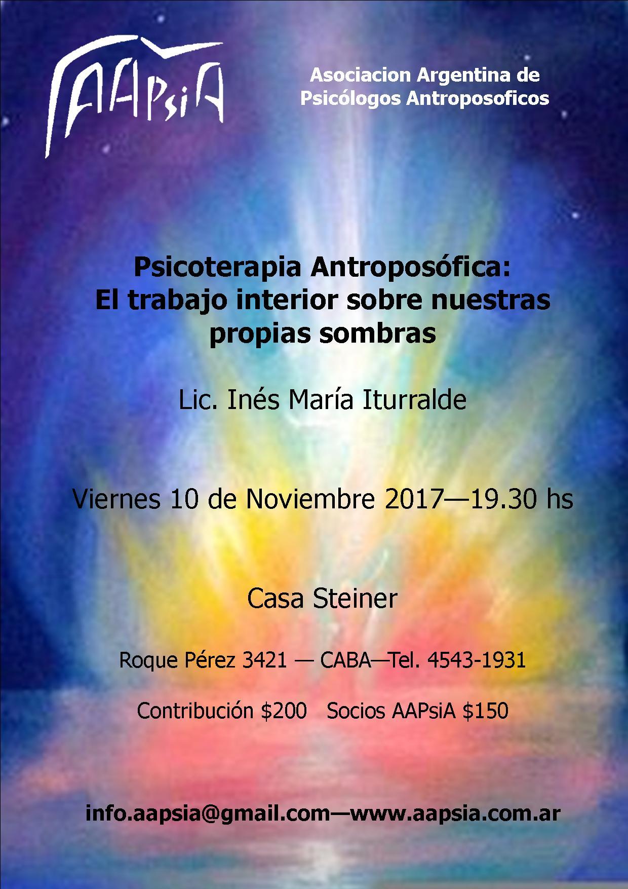 LAS SOMBRAS. CHARLA CASA STEINER 10 NOV 2017